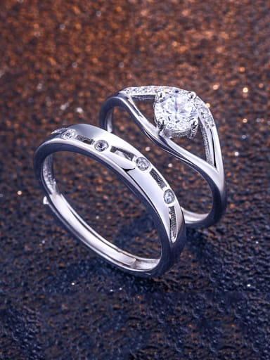 925 Sterling Silver With Cubic Zirconia Simplistic Loves  Band Rings