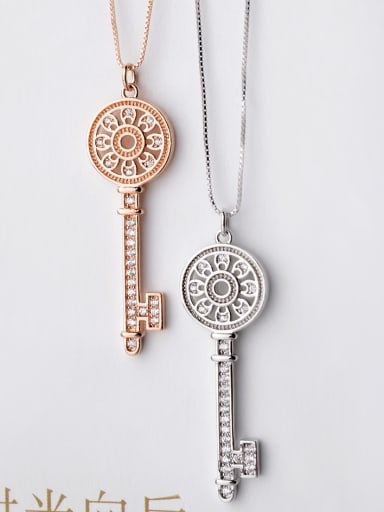 Hollow Key micro-inlay AAA Zricon Necklace