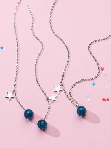 Blue imitation crystal star sweet short clavicular chain ear thread