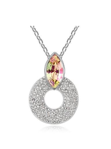 Simple Hollow Round Pendant Swarovski Crystal Alloy Necklace