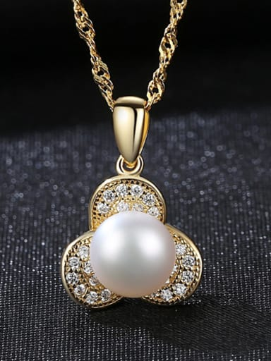 Sterling silver plated 18K-gold 7-7.5mm natural pearl necklace