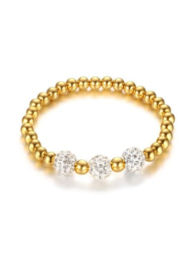 Exquisite Gold Plated Titanium Beads Rhinestone Bracelet