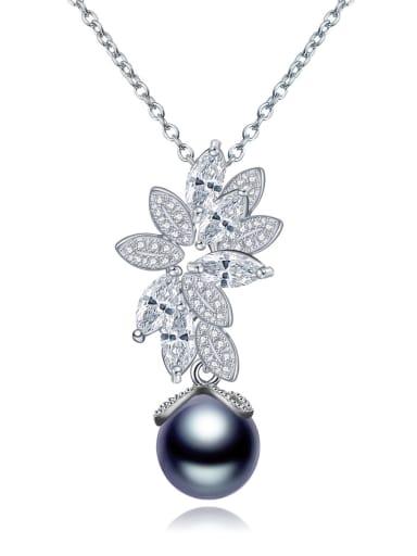 Fashion pearl shell pendant Zircon Necklace