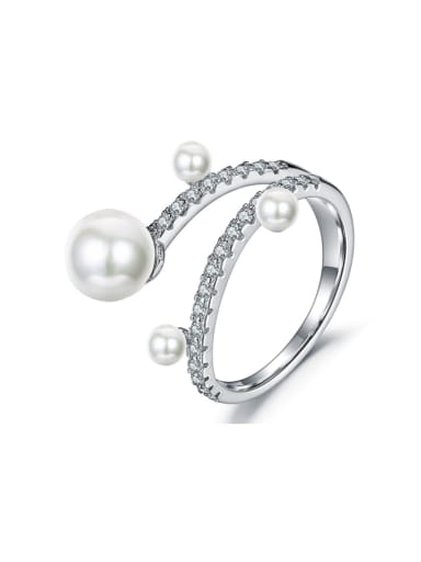 Trendy micro-inlay AAA zircon imitation pearl branch ring