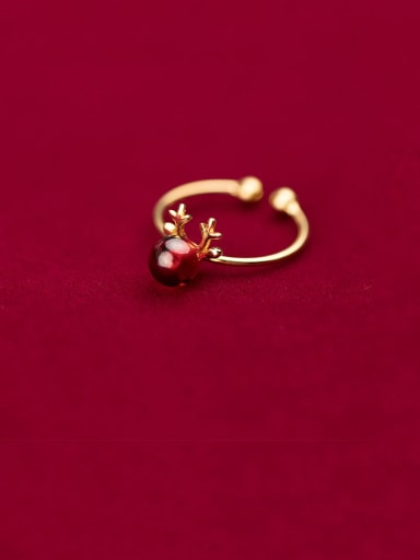 925 Sterling Silver With Gold Plated Simplistic Small Elk Free Size Rings