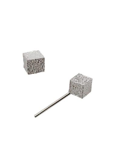 Simple Little Cube Silver Rough Stud Earrings