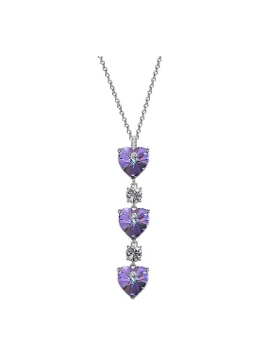Heart-shaped Purple Crystal Necklace