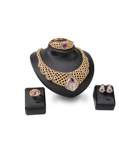 2018 Alloy Imitation-gold Plated Vintage style Artificial Stones Hollow Four Pieces Jewelry Set