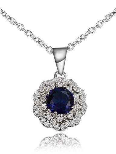 Women Blue Flower Shaped Zircon Necklace