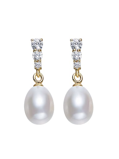 Fashion Freshwater Pearl Zircon Stud Earrings