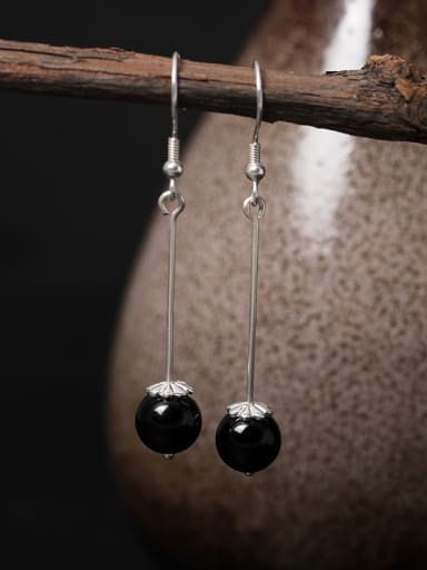 Retro Obsidian Silver Hook Earrings