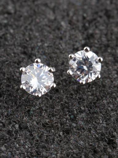 925 Sterling Silver Eight Carat Heart Eight Arrow Zircon stud Earring