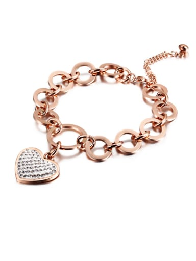 Love Heart Diamond Circle Rose Gold Bracelet
