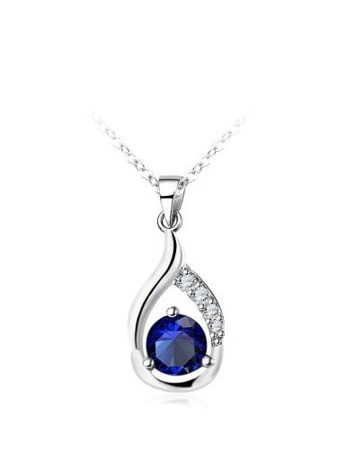 Delicate Blue Glass Bead Women Necklace