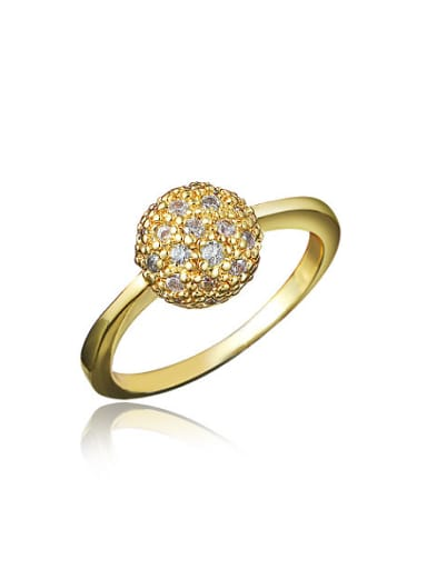Women 18K Gold Plated Ball Shaped Zircon Ring