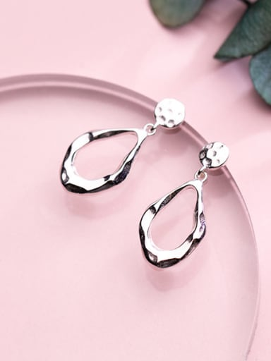 925 Sterling Silver With Platinum Plated Simplistic Geometric Drop Earrings