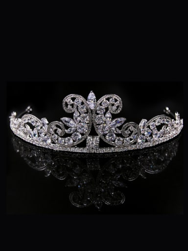 Butterfly Crown-shape Zircons White Gold Plated Hair Accessories
