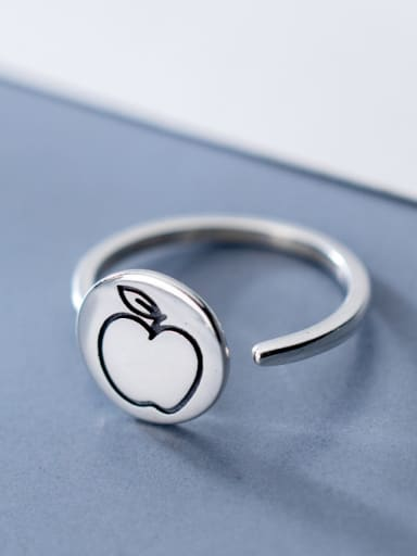 925 Sterling Silver With Antique Silver Plated Personality Apple Free Size Rings