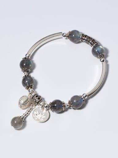 Vintage Flower Shaped Stones S925 Silver Bracelet