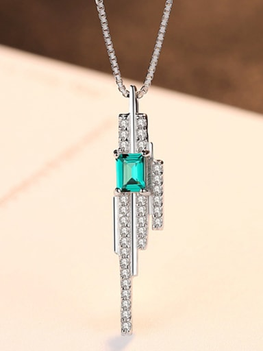 Sterling silver emerald inlaid zircon geometric necklace