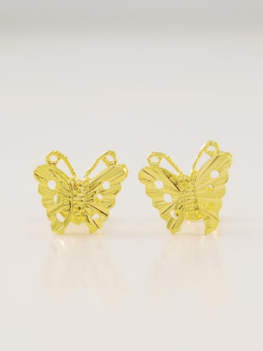 Fashion 24K Gold Plated Butterfly Shaped Stud Earrings