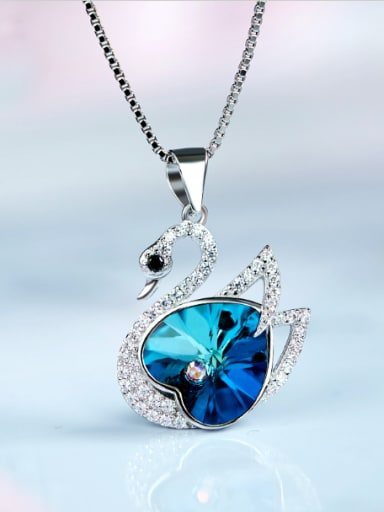 S925  Silver Crystal Swan-shaped Necklace