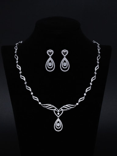 Bridal Necklace Wedding Earrings Two Pieces Jewelry