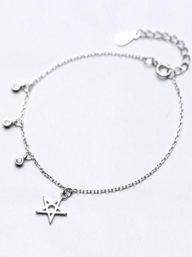 Temperament Adjustable Star Shaped Rhinestone S925 Silver Bracelet