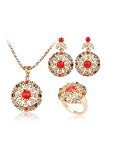 Retro Ethnic style Colorful Resin stones White Crystals Alloy Three Pieces Jewelry Set