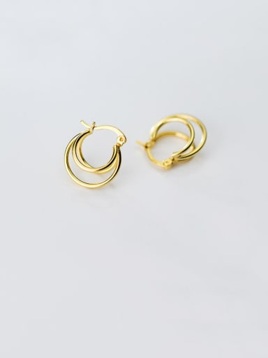 925 Sterling Silver With Gold Plated Simplistic Three Floors Round Clip On Earrings