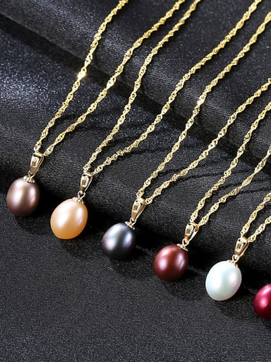 Sterling silver natural freshwater pearl necklace