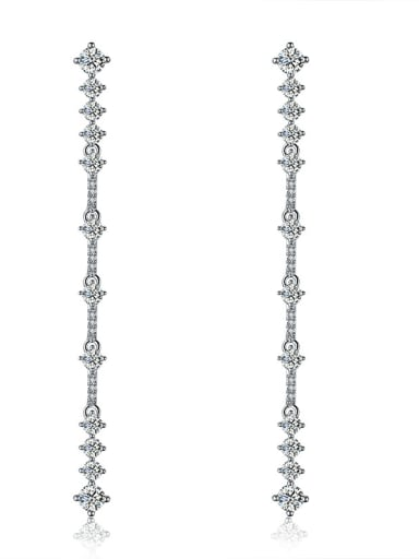 Copper With 18k White Gold Plated Classic Charm Bridal Drop Earrings