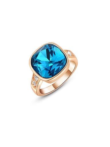 Blue Square Shaped Rose Gold Platinum Ring