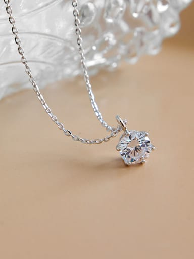 925 Sterling Silver With Platinum Plated Simplistic Necklaces