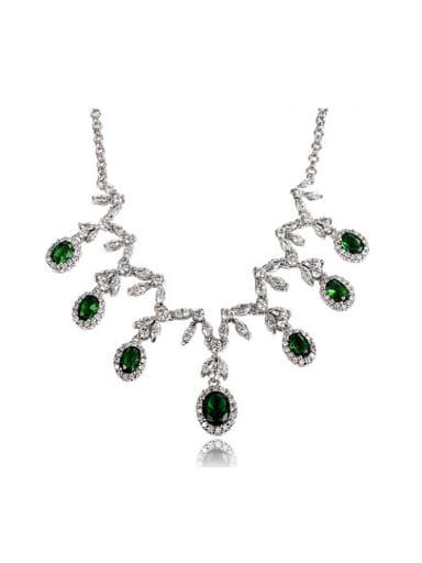Exquisite Green Water Drop Shaped Zircon Necklace