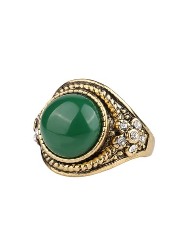 Retro style Resin Round stone Crystals Alloy Ring