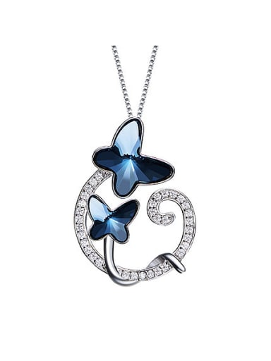 2018 2018 S925 Silver Butterfly Shaped Necklace