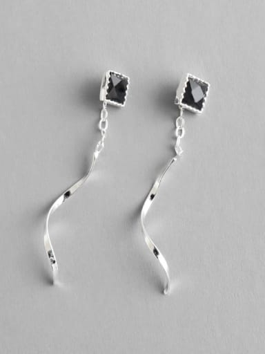 925 Sterling Silver With Silver Plated Personality Rotating waves Threader Earrings