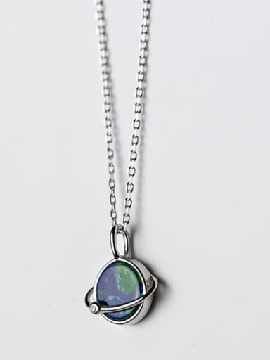 Fashionable Green Round Shaped Crystal S925 Silver Necklace