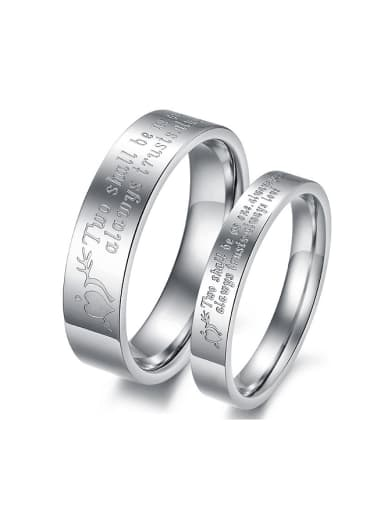 Simple Monogram-etched Titanium Lovers Ring