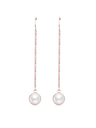 Simple Style Women Tassel Pearl threader earring