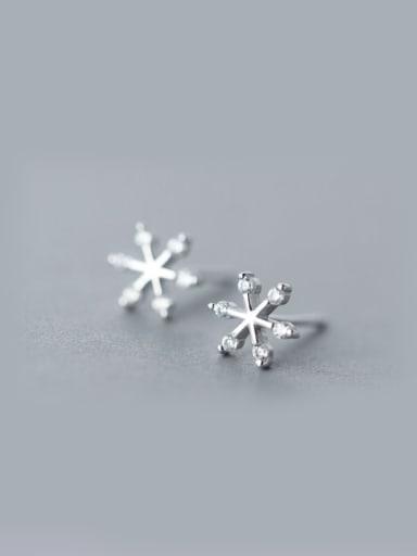 S925 Silver Fashion zircon Snowflake Stud cuff earring