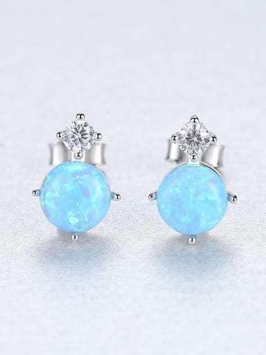Sterling Silver Classic Mini opal with AAA grade zircon studs