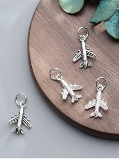 925 Sterling Silver With Silver Plated Simplistic Irregular airplane Charms