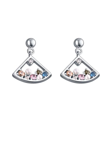 925 Sterling Silver With Cubic Zirconia  Fashion Scalloped skirt  Earrings