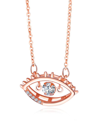 Copper With Rose Gold Plated Fashion Evil Eye Necklaces