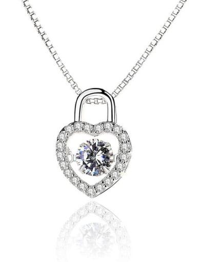 Fashion Heart Lock Shiny Zirconias-covered 925 Silver Pendant