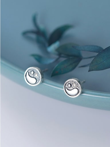 925 Sterling Silver With Silver Plated Simplistic Geometric Taiji Diagram Stud Earrings