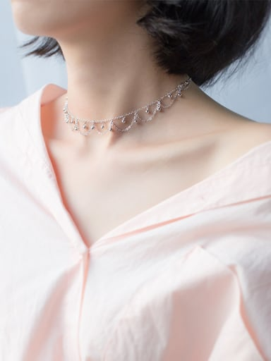 Temperament Double Layer Wave Shaped S925 Silver Necklace