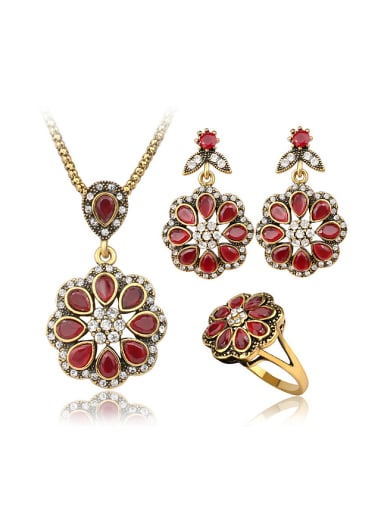 Ethnic style Red Resin stones Flowery Three Pieces Jewelry Set